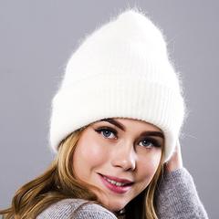 Вязаная женская шапка - колпак с отворотом, ангора (белая)