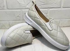 Кожаные туфли женские слипоны на толстой подошве Alpino 21YA-Y2859 Cream.