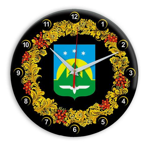 Часы в стиле Хохлома сувенирные Ханты Мансийск 03