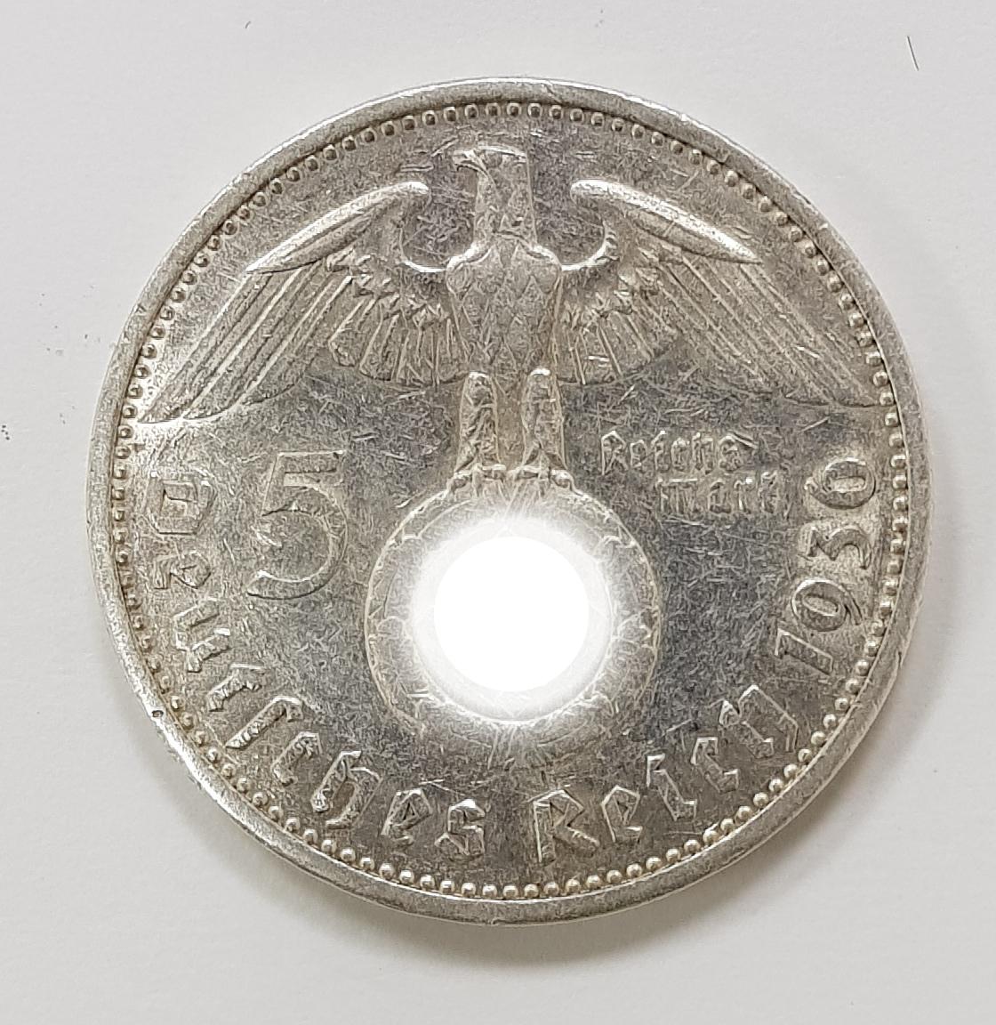 5 марок 3 рейх. 1936 год. (G). XF+