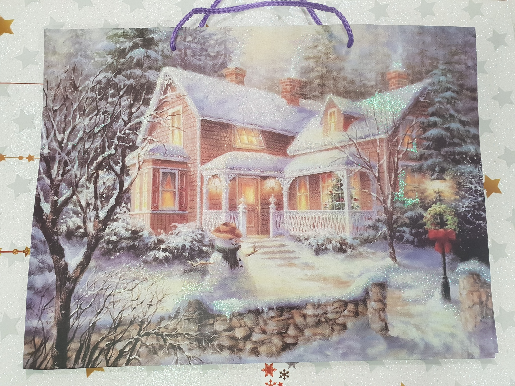 Бумажный новогодний подарочный пакет горизонтальный