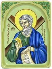 Рукописная икона Святой апостол Андрей Первозванный на кипарисе 20х15см в резном киоте