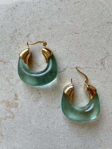 Серьги Морена Кларо, зеленые