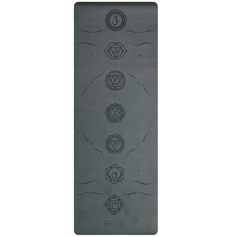 Каучуковый йога коврик Chakras Black c разметкой 185*68*4,5 см