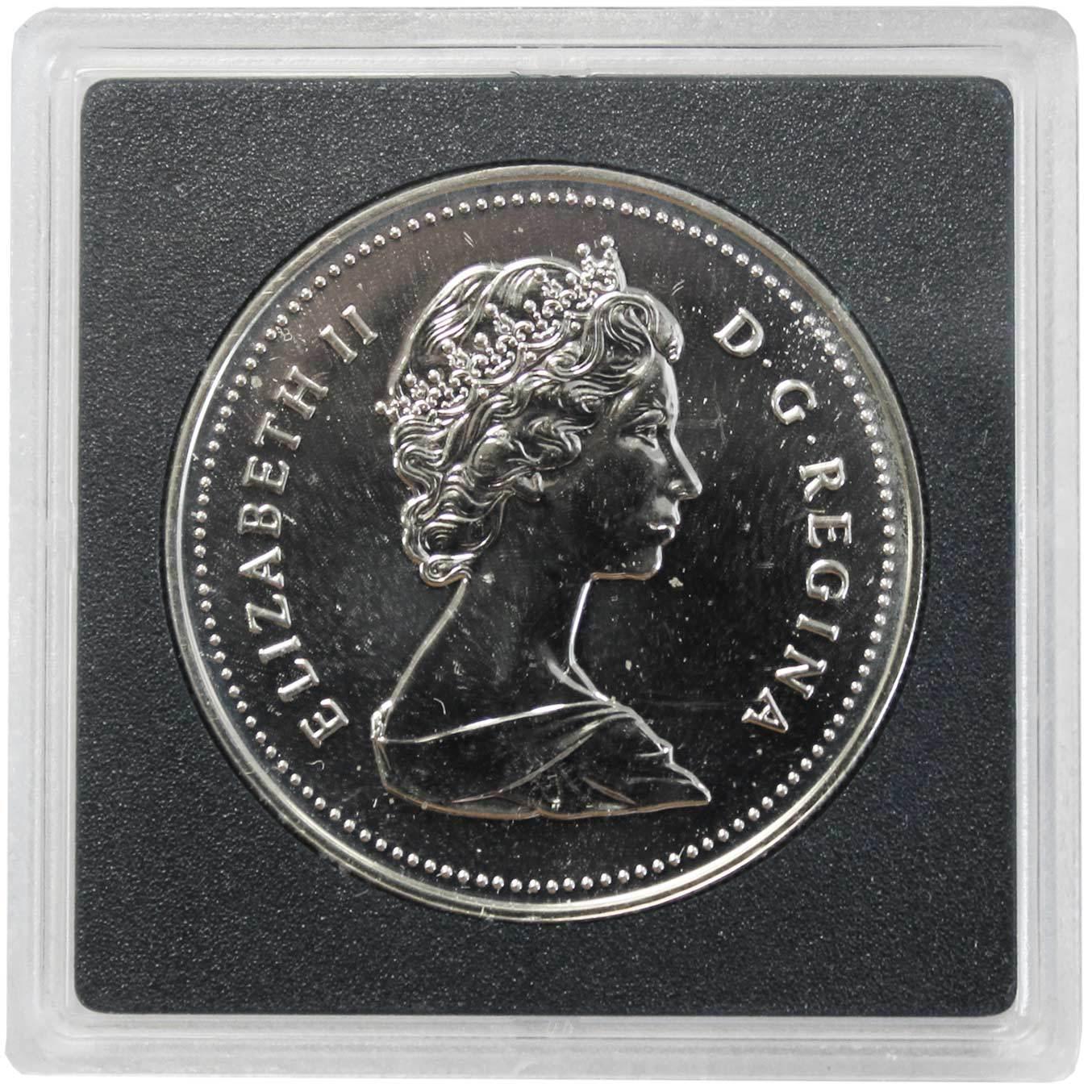 1 доллар. 250 лет кузницам Сен-Мориса. Канада. 1988 г. BrUNC Серебро. В оргинальной квадрокапсуле