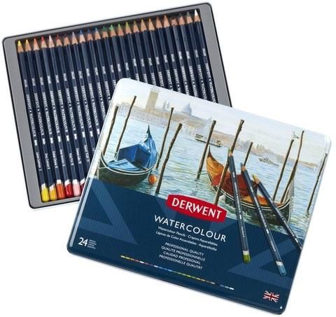 Набор акварельных карандашей Derwent Watercolour 24 цвета в металлической упаковке