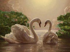 Алмазная Мозаика + Багет 40x50 Лебеди в наступлении темноты