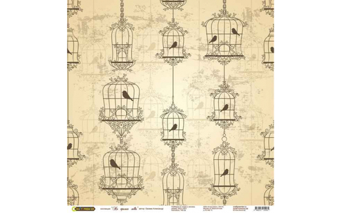 Бумага для скрапбукинга «На крыльях любви» фон бежевый