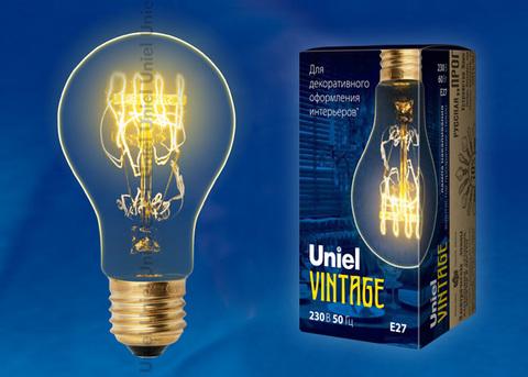 IL-V-A60-60/GOLDEN/E27 SW01 Лампа накаливания Vintage. Форма «A». Форма нити SW. Картон. ТМ Uniel
