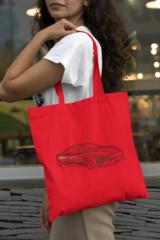 Женская сумка-шоппер с принтом Астон Мартин (Aston Martin) красная 003