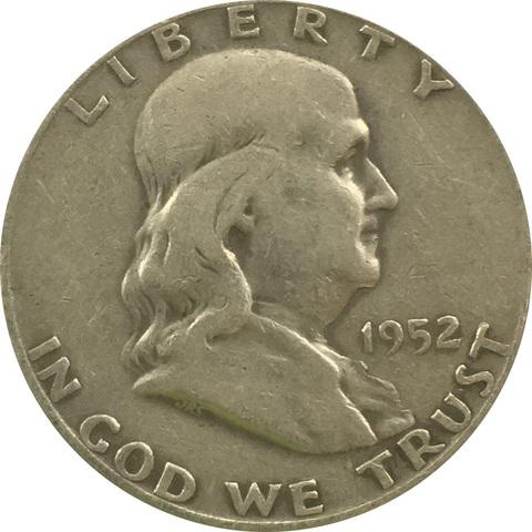 """50 центов 1952 года. США. Двор """"D"""". Франклин"""