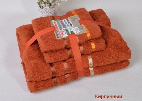 Комплект махровых полотенец КАРНА, кирпичный