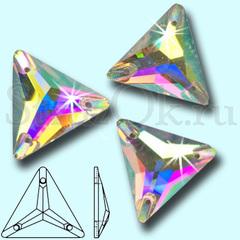 Стразы пришивные стеклянные Triangle Crystal AB, Треугольник  Кристал АБ прозрачный с радужным покрытием на StrazOK.ru