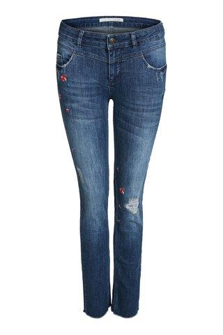 Джинсы синие с вышивкой Oui арт.62722