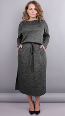 Леся. Оригінальна сукня для пишних жінок. Графіт.
