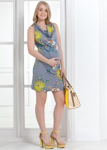 Платье ПП04 цветы на сером для беременных и кормящих