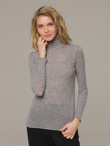 Женская водолазка серого цвета из 100% шерсти - фото 2