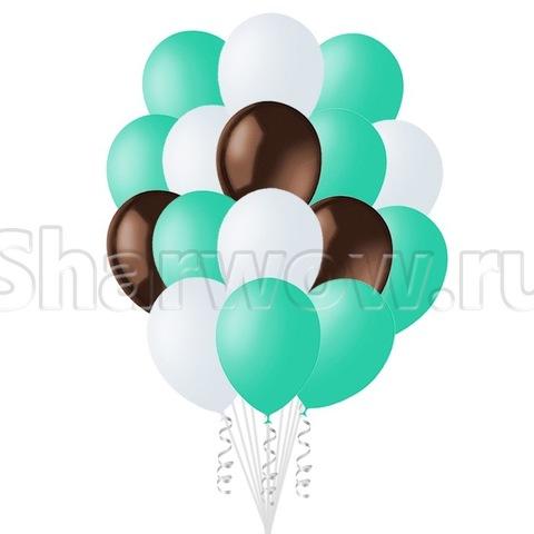 Облако воздушных гелиевых шаров Оттенки бирюзового с шоколадным