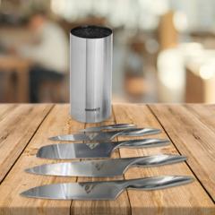 Набор из 5 кухонных стальных ножей Samura Alfa и подставки KBA-100