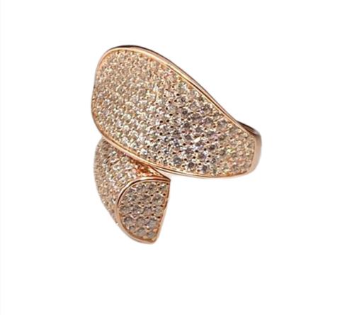 47625- Кольцо Чалма из серебра с микроцирконами в розовой позолоте