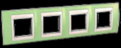 Рамка на 4 поста. Цвет Зеленое яблоко/бежевый. Schneider electric Unica Хамелеон. MGU6.008.563