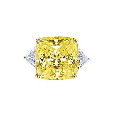 4850- Кольцо из серебра с желтым, цирконом огранки принцесса