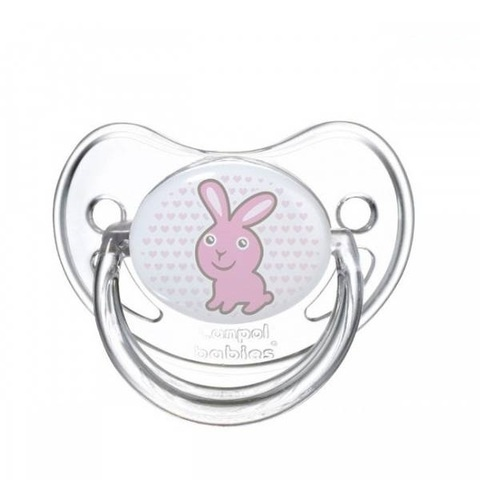 Пустышка анатомическая силиконовая, 6-18 Transparent (зайка)