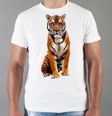 Футболка с принтом Тигр (Tiger) белая 002