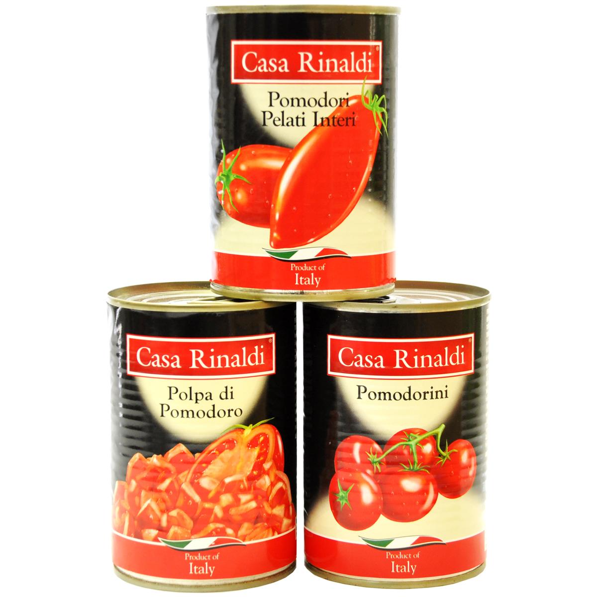 Помидоры Casa Rinaldi очищенные в собственном соку 400 г