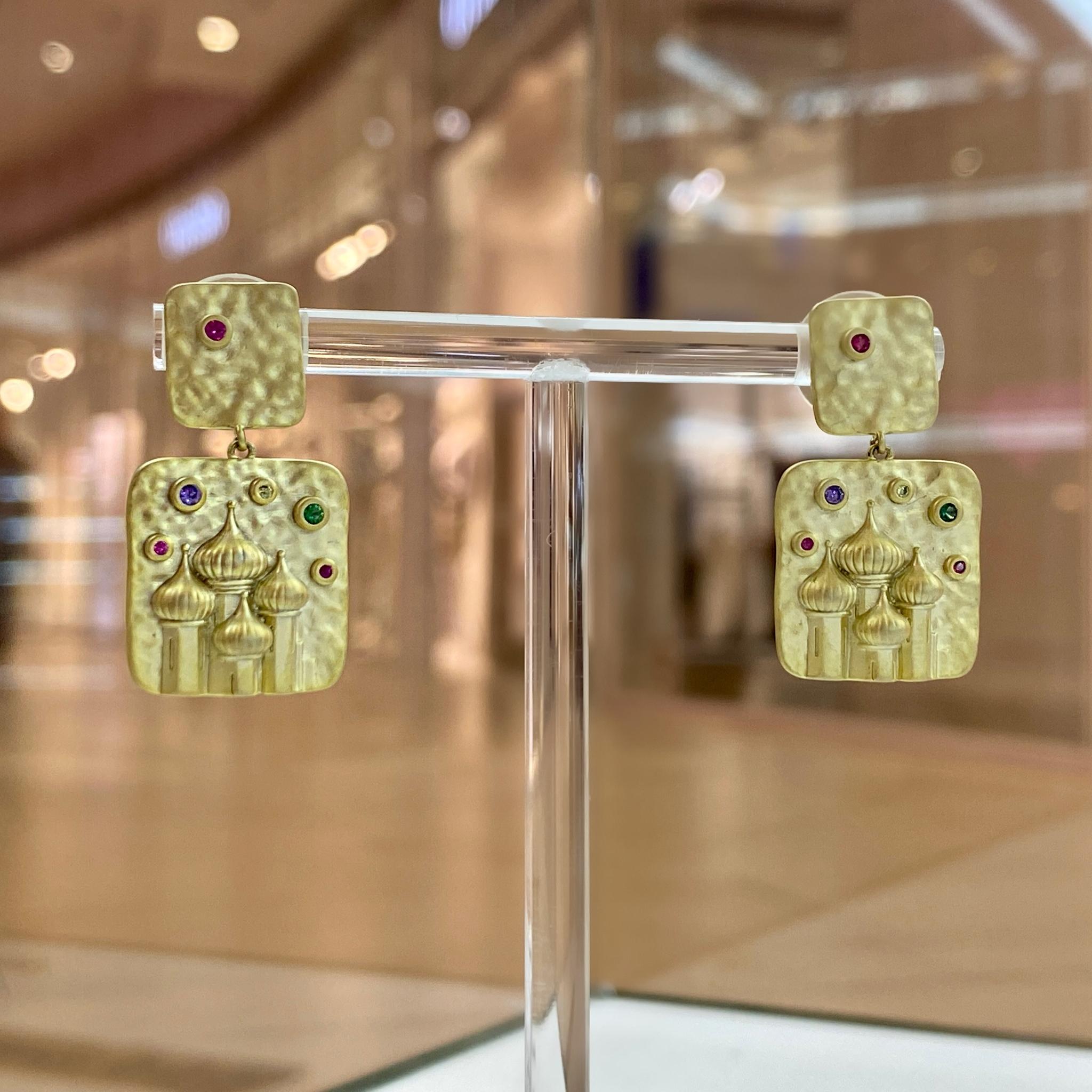 Серьги-подвески Крепость цирконы ш925 (золотистый)