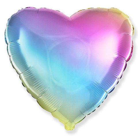 Шар сердце разноцветный, нежный радужный градиент, 45 см
