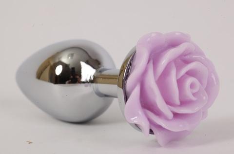 Анальная пробка металл 2,8х7,6 см с розой сиреневая 47184-MM