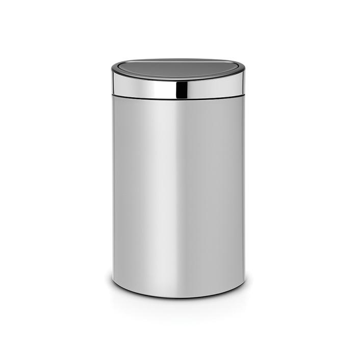 Мусорный бак Touch Bin New (40 л), Серый металлик, крышка стальная полированная, арт. 114861 - фото 1
