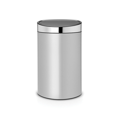 Мусорный бак Touch Bin New (40 л), Серый металлик, крышка стальная полированная