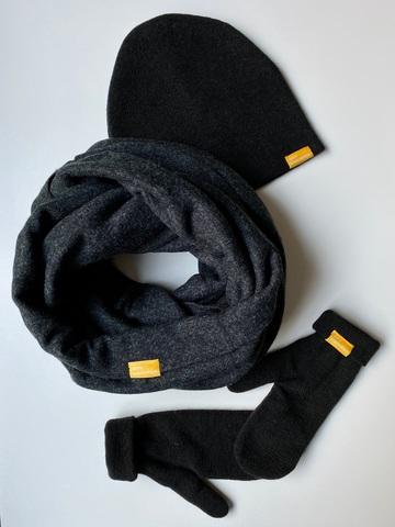 Комплект с варежками черный меланжевый из турецкой шерсти