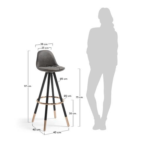 Барный стул Stag черное сидение