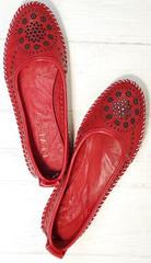 Женские слипоны балетки натуральная кожа Rozen 212 Red.