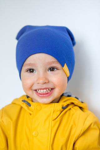 детская шапка хлопковая в рубчик синяя васильковая