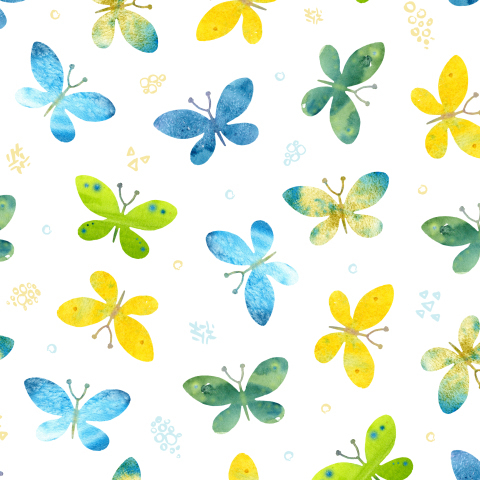 Акварельные бабочки на белом фоне