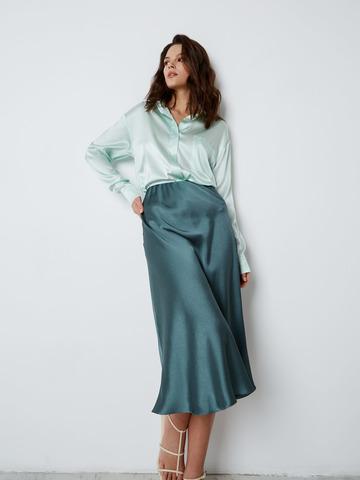 Блуза с карманом из шелка мятный