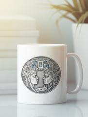 Кружка с изображением Знаки Зодиака, Близнецы (Гороскоп, horoscope) белая 002