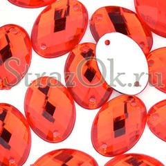 Купить пришивные стразы оптом красные акрил Oval Light Siam