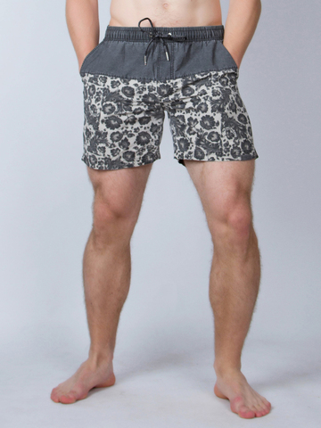 Винтажные пляжные шорты «Тёмно-серая хохлома»