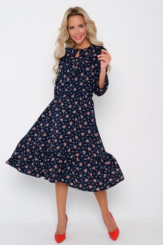 <p>Платье из легкой ткани сделает Вас женственной и недосягаемой. Отрезное по линии талии на резинке. Юбка с воланом, рукав 3/4 с оборкой, по переду полочки оборка на сборке.&nbsp;</p>