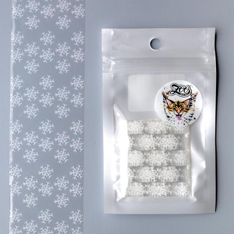 1459 Фольга переводная 4*50 см новогодняя прозрачная белая