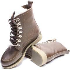 Ботинки женские на шнуровке без каблука зимние Studio27 576c Broun.