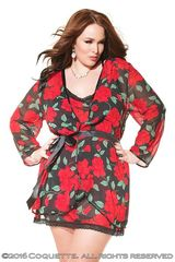 Прозрачный черный халат с красными розами (BS)