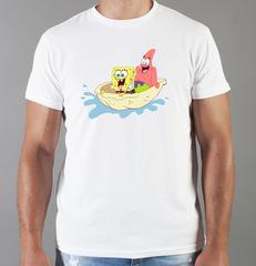 Футболка с принтом мультфильма Губка Боб Квадратные Штаны/ Спанч Боб (SpongeBob SquarePants) белая 0018
