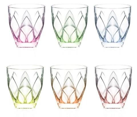 Набор цветных стаканов для виски RCR Ninphea 250 мл, 6 шт