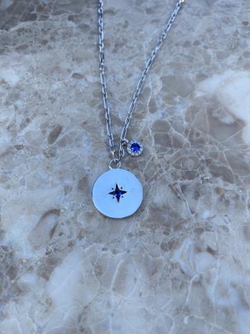 Колье Вега из серебра с синим цирконом